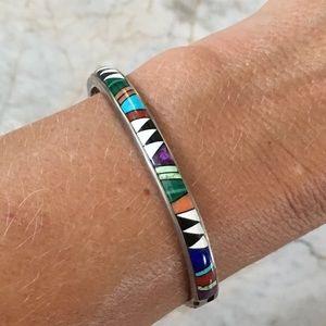 Jewelry - Navajo Sterling Multi Stone Bracelet C Lincoln